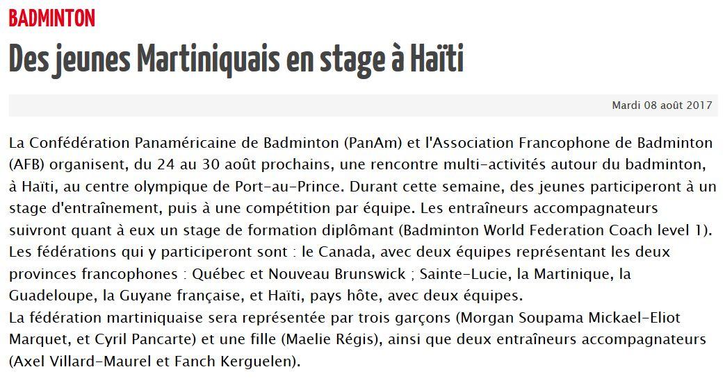 2017 des jeunes martiniquais en stage a haiti