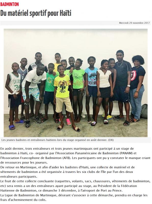 2017 du materiel sportif pour haiti